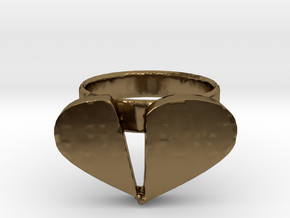 Broken Heart Ring in Polished Bronze