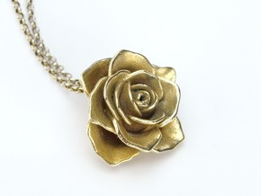 Romantic Rose Necklace in Natural Brass