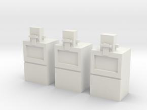 3 Newspaper vending machines (1:160) in White Natural Versatile Plastic