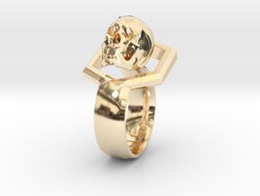 Hexa Skull Ring in 14K Yellow Gold