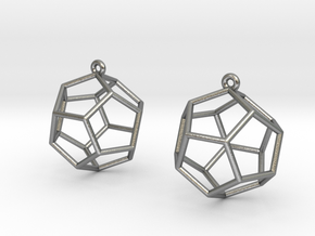 Dodecahedron Earrings in Natural Silver