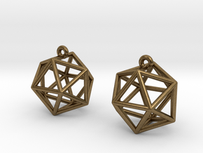 Icosahedron Earrings in Natural Bronze