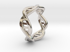 DNA ring (all sizes) in Rhodium Plated Brass: 7.5 / 55.5