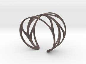 Leaf Bracelet Size M in Polished Bronzed Silver Steel