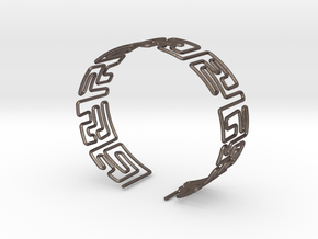 Maze Bracelet Size L in Polished Bronzed Silver Steel