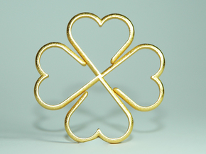 Clover Heart Necklace Pendant in Polished Gold Steel