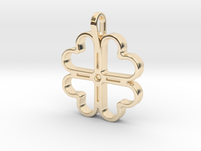 Four Leaf Clover Pendant in 14k Gold Plated Brass