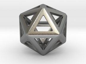 Iconsahedron bead in Natural Silver