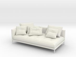 Miniature 1:48 Sofa in White Natural Versatile Plastic: 1:48 - O