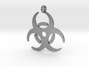 Biohazard necklace charm (simple) in Natural Silver