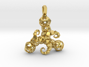 tentacles Fractal Pendant in Polished Brass