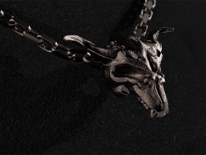 The Horned Devil - The God of Maliciousness in Polished Bronzed Silver Steel