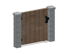 Block Wall - Wooden Man Gate-1 in White Natural Versatile Plastic: 1:87 - HO