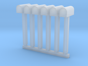 'N Scale' - (6) Mailboxes in Smooth Fine Detail Plastic