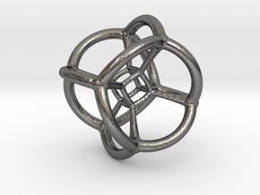 4d Tesseract Bead - Multidimensional Math Art Pend in Polished Nickel Steel