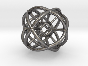4d Geometric Bead - Hypersphere Math Art Pendant 3 in Polished Nickel Steel