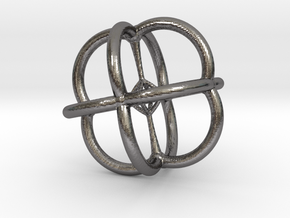 4d Polytope Jewelry - Abstract Math Art Pendant 3D in Polished Nickel Steel