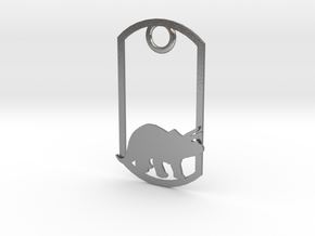 Triceratops dog tag in Natural Silver