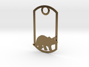 Triceratops dog tag in Natural Bronze