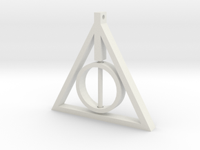 Deathly Hallows Rotating Pendant in White Natural Versatile Plastic