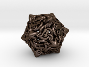 Cthulhu D20  in Polished Bronze Steel