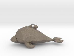 Dolphin - Ocean Charm Triangle 3D Pendant in Matte Bronzed-Silver Steel