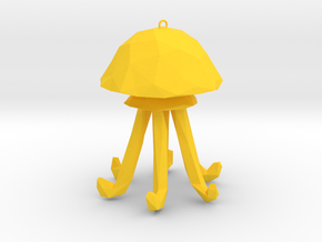 Jellyfish - Nautical Charm Faceted  3D Pendant  in Yellow Processed Versatile Plastic