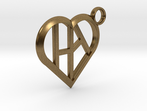 Heart of love keychain [customizable] in Natural Bronze