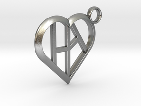 Heart of love keychain [customizable] in Natural Silver