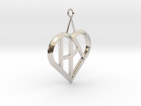 Heart of love pendant [customizable] in Platinum