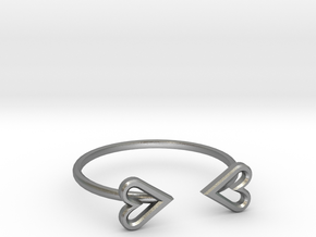 FLYHIGH: Open Heart Skinny Bracelet in Natural Silver