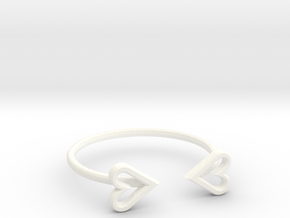 FLYHIGH: Open Heart Skinny Bracelet in White Strong & Flexible Polished