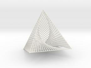 Square Pyramid 1 Curve Stitching in White Natural Versatile Plastic