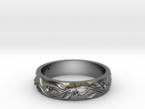 AB053 Floral Band in Fine Detail Polished Silver
