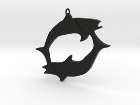 Pisces zodiac sign pendant in Black Premium Versatile Plastic