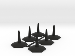 6 pack Flying-Space Hex Stands in Black Natural Versatile Plastic