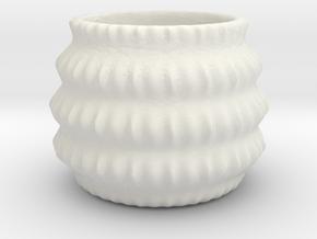 Barrel Geometric Plant 3D Printing Flowerpot  in White Natural Versatile Plastic