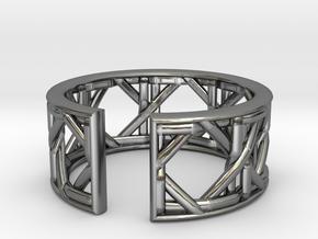 Vienna Woven Cane Ear Cuff / Ring Wiener Geflecht in Fine Detail Polished Silver: 6.25 / 52.125