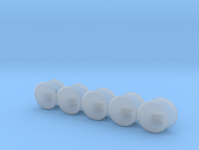 10@Space Knights V7-10 Domed Round Shield 1(right) in Smooth Fine Detail Plastic