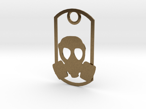 Gas Mask dog tag in Natural Bronze