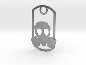 Gas Mask dog tag in Natural Silver