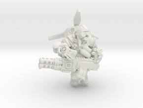 Space Dwarf Aviator in White Natural Versatile Plastic