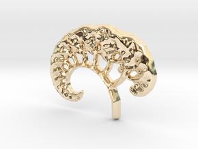 3D Fractal Tree Pendant in 14K Yellow Gold