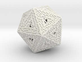 20 Sided Maze Die in White Strong & Flexible