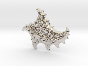 3D Fractal Sea Shell Pendant in Platinum