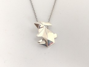 Origami Rabbit Pendant in Polished Silver