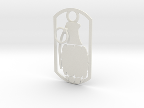 Hand grenade dog tag in White Natural Versatile Plastic