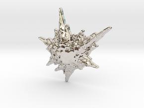 3D Fractal Snowflake Pendant in Platinum