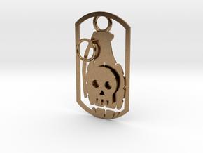 Skull grenade dog tag in Natural Brass