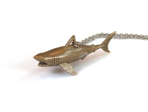 Shark Pendant in Polished Bronzed Silver Steel